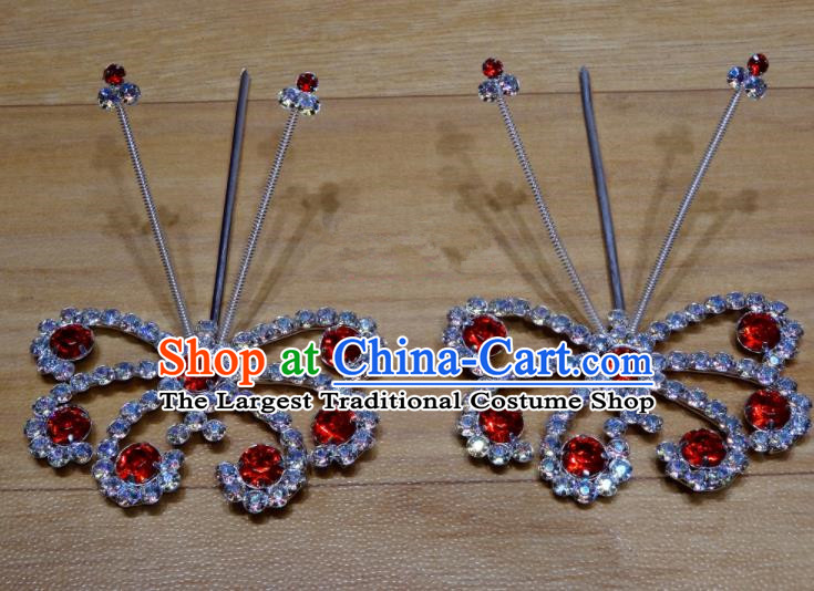 Chinese Traditional Beijing Opera Diva Red Crystal Butterfly Hairpins Princess Hair Accessories for Adults