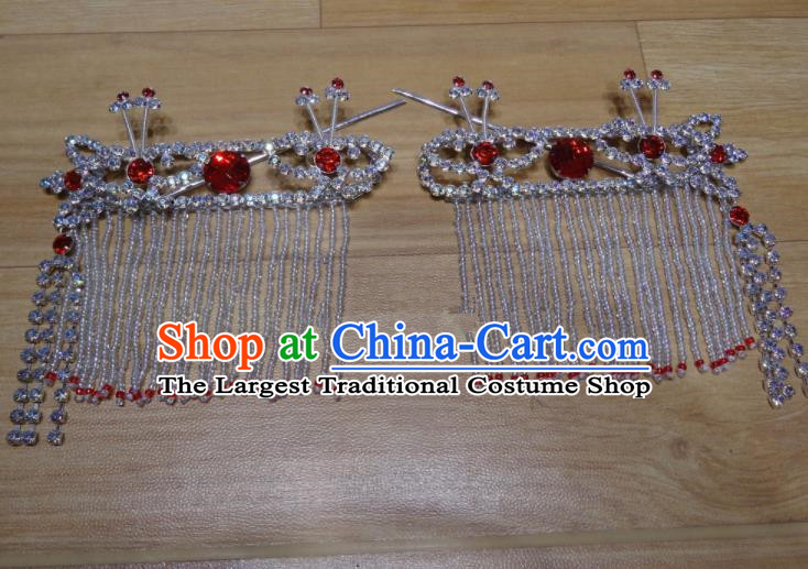 Chinese Traditional Beijing Opera Diva Sidebums Red Tassel Hairpins Princess Hair Accessories for Adults