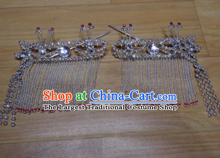 Chinese Traditional Beijing Opera Diva Sidebums Tassel Hairpins Princess Hair Accessories for Adults