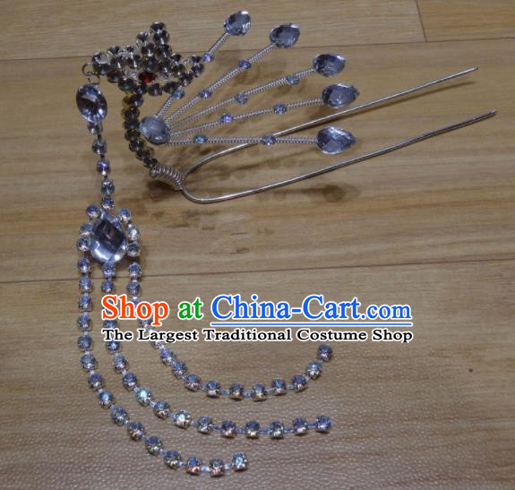 Chinese Traditional Beijing Opera Diva Crystal Phoenix Tassel Hairpins Princess Hair Accessories for Adults