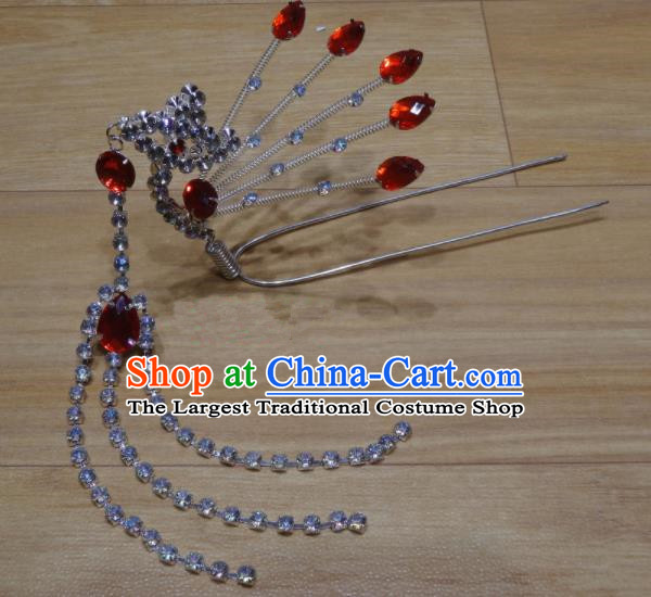 Chinese Traditional Beijing Opera Diva Red Crystal Phoenix Tassel Hairpins Princess Hair Accessories for Adults