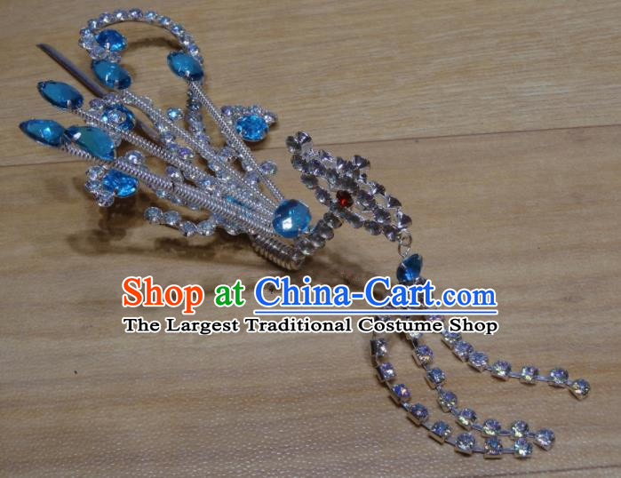 Chinese Traditional Beijing Opera Blue Crystal Phoenix Tassel Hairpins Princess Hair Accessories for Adults