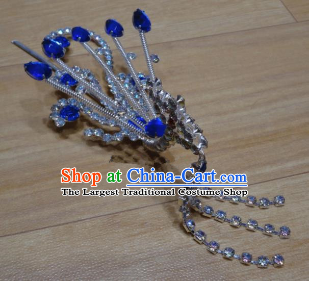 Chinese Traditional Beijing Opera Royalblue Crystal Phoenix Tassel Hairpins Princess Hair Accessories for Adults