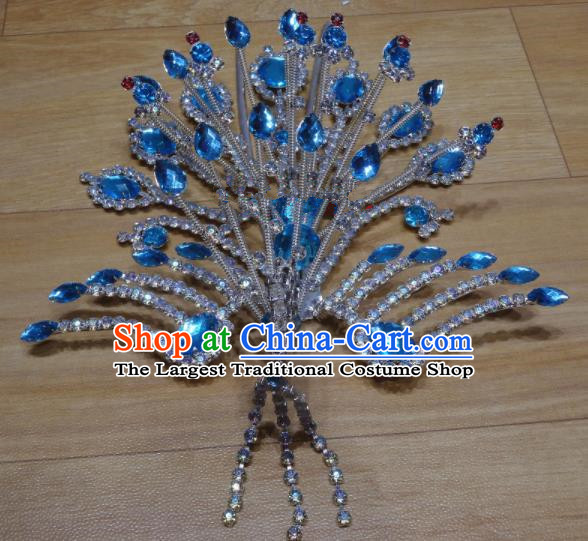Chinese Traditional Beijing Opera Phoenix Hairpins Princess Blue Crystal Hair Accessories for Adults