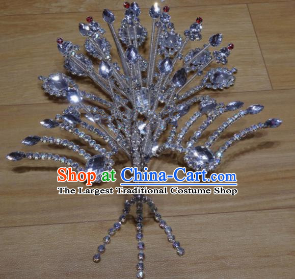 Chinese Traditional Beijing Opera Phoenix Hairpins Princess Crystal Hair Accessories for Adults
