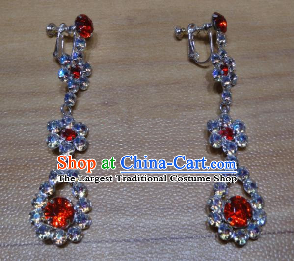 Chinese Traditional Beijing Opera Red Crystal Earrings Peking Opera Diva Ear Accessories for Adults
