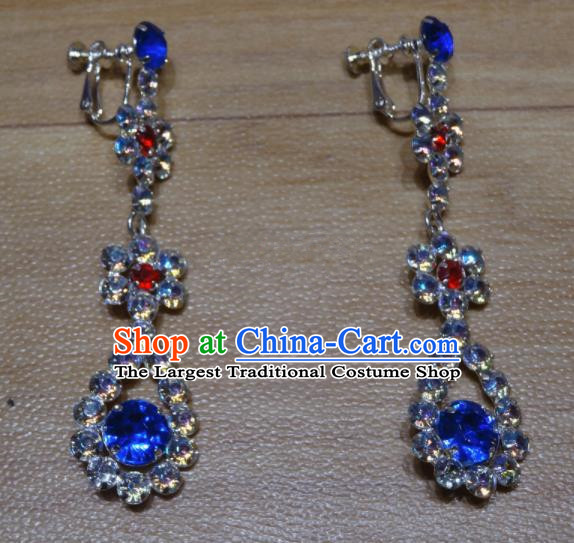 Chinese Traditional Beijing Opera Royalblue Crystal Earrings Peking Opera Diva Ear Accessories for Adults