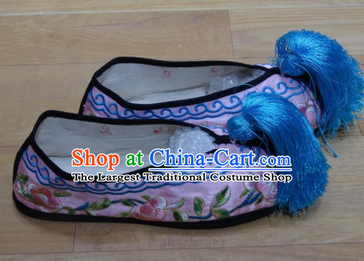 Chinese Traditional Beijing Opera Diva Embroidered Shoes Princess Pink Shoes for Adults