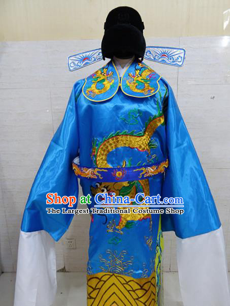 Chinese Traditional Beijing Opera Prime Minister Blue Embroidered Robe Peking Opera Old Men Costume for Adults