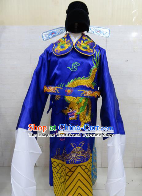 Chinese Traditional Beijing Opera Prime Minister Royalblue Embroidered Robe Peking Opera Old Men Costume for Adults