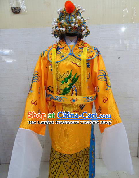 Chinese Traditional Beijing Opera Prime Minister Golden Embroidered Robe Peking Opera Old Men Costume for Adults