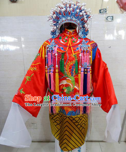 Chinese Traditional Beijing Opera Queen Red Embroidered Phoenix Robe Peking Opera Costume for Adults