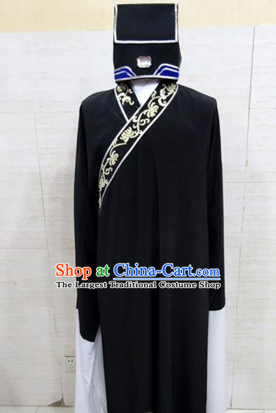 Chinese Traditional Beijing Opera Scholar Black Robe Peking Opera Niche Costume for Adults