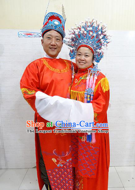 Chinese Traditional Beijing Opera Bride Red Embroidered Robe Peking Opera Diva Costume for Adults