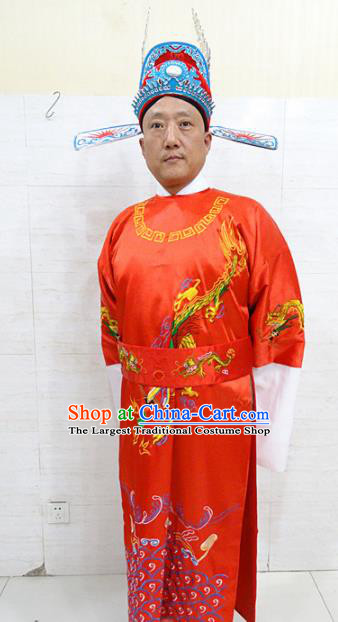 Chinese Traditional Beijing Opera Scholar Red Robe Peking Opera Bridegroom Costume for Adults