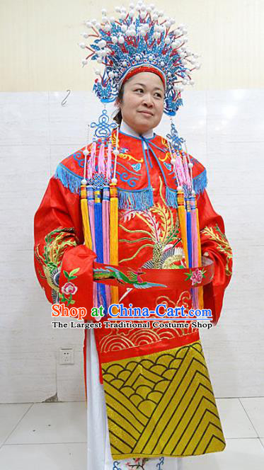 Chinese Traditional Beijing Opera Bride Red Embroidered Dress Peking Opera Diva Costume for Adults