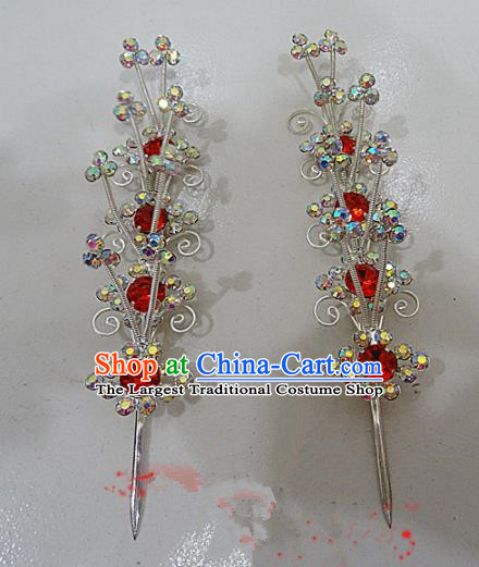 Chinese Traditional Beijing Opera Red Crystal Hairpins Princess Hair Accessories for Adults