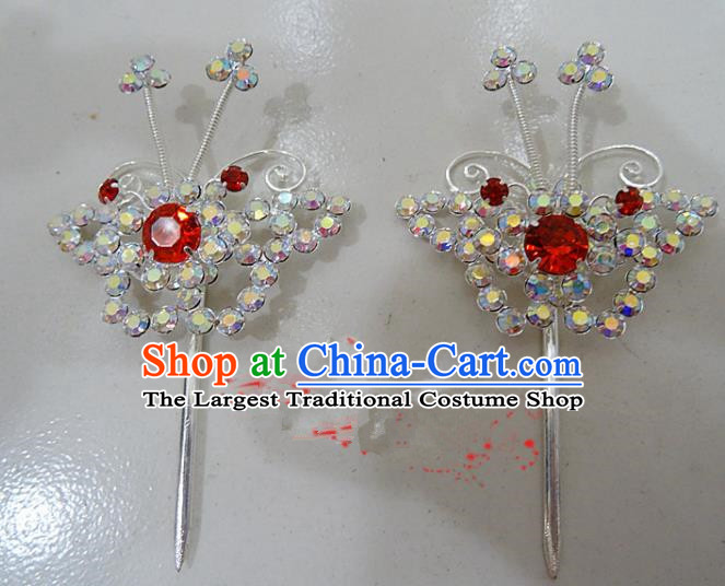 Chinese Traditional Beijing Opera Crystal Butterfly Hairpins Princess Hair Accessories for Adults