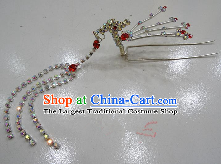 Chinese Traditional Beijing Opera Diva Red Crystal Phoenix Hairpins Princess Tassel Hair Clip Hair Accessories for Adults