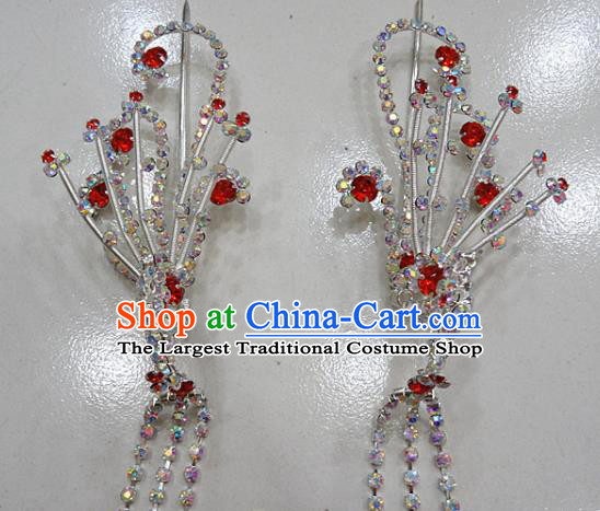Chinese Traditional Beijing Opera Diva Red Phoenix Hairpins Princess Crystal Tassel Hair Clip Hair Accessories for Adults