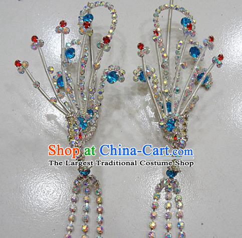 Chinese Traditional Beijing Opera Diva Blue Phoenix Hairpins Princess Crystal Tassel Hair Clip Hair Accessories for Adults
