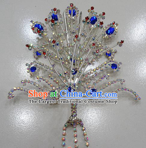 Chinese Traditional Beijing Opera Queen Phoenix Hairpins Princess Royalblue Crystal Tassel Hair Clip for Adults