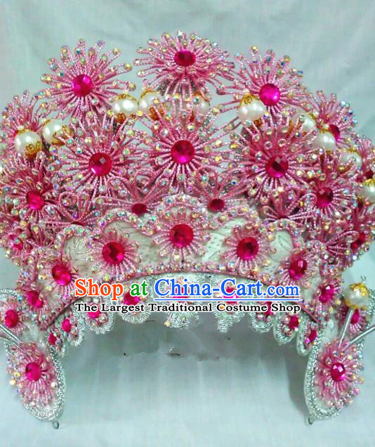 Chinese Traditional Beijing Opera Warriors Rosy Hat Hair Accessories for Adults