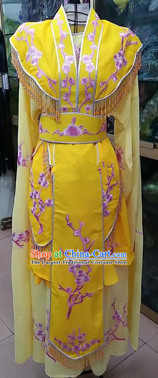 Chinese Traditional Beijing Opera Actress Princess Yellow Dress Peking Opera Peri Costume for Adults