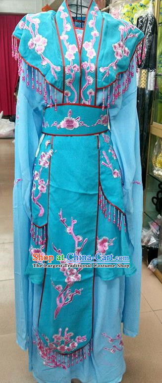 Chinese Traditional Beijing Opera Actress Princess Blue Dress Peking Opera Peri Costume for Adults