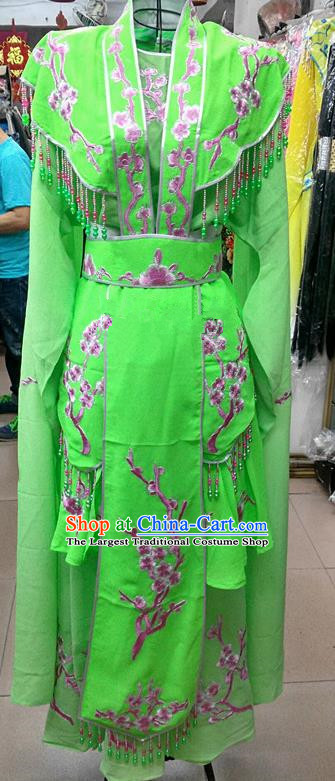 Chinese Traditional Beijing Opera Actress Princess Green Dress Peking Opera Peri Costume for Adults