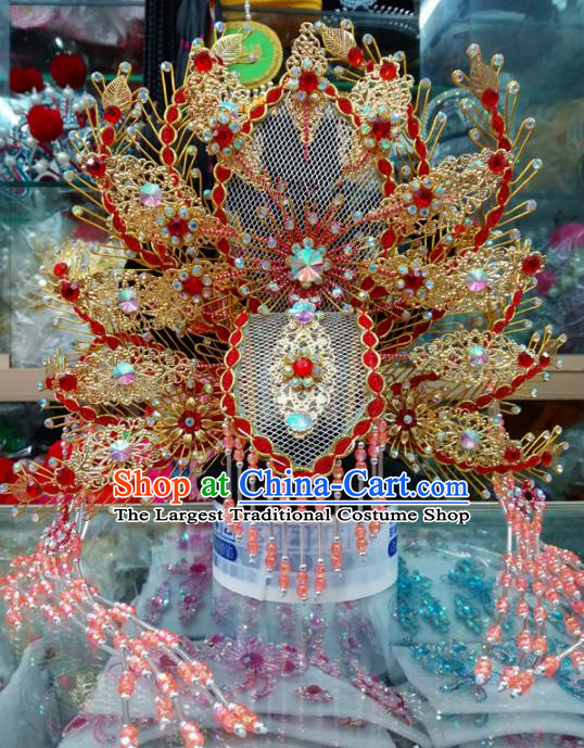 Chinese Traditional Beijing Opera Red Phoenix Coronet Queen Hair Accessories for Adults
