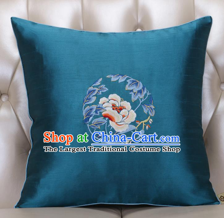 Chinese Traditional Embroidered Peony Peacock Blue Brocade Back Cushion Cover Classical Household Ornament
