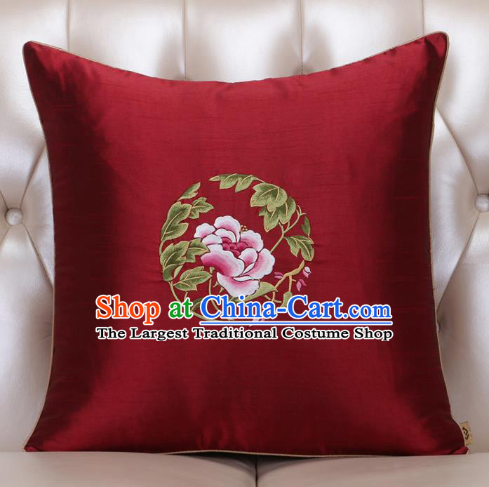 Chinese Traditional Embroidered Peony Purplish Red Brocade Back Cushion Cover Classical Household Ornament