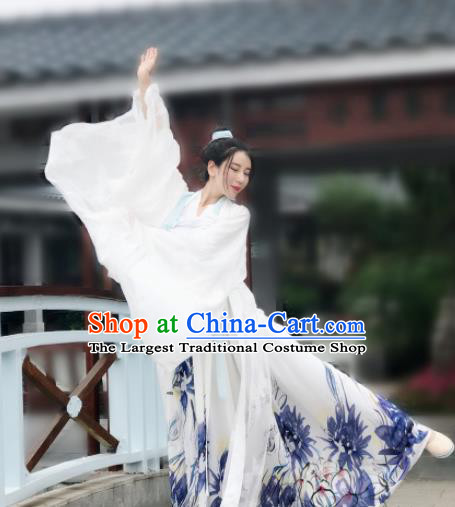 Chinese Ancient Imperial Concubine White Hanfu Dress Tang Dynasty Palace Lady Historical Costume for Women