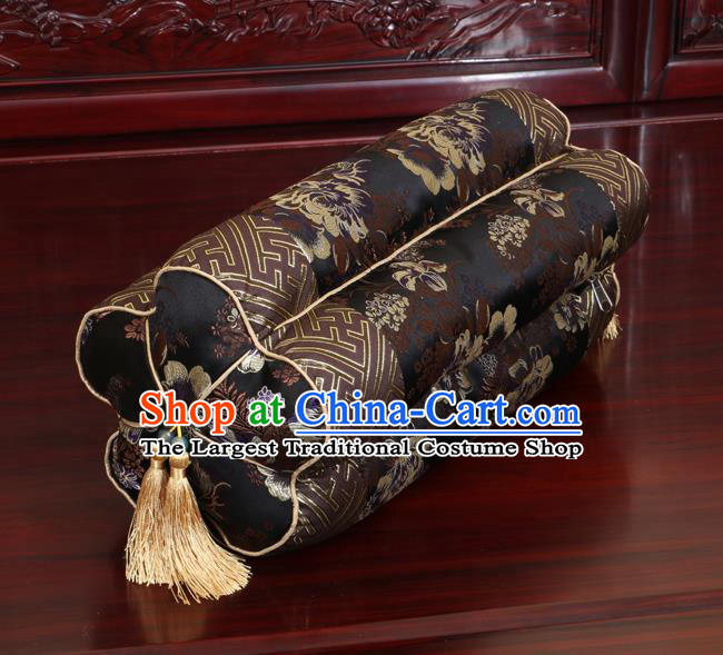 Chinese Traditional Household Accessories Classical Peony Pattern Black Brocade Plum Blossom Pillow