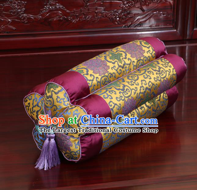Chinese Traditional Household Accessories Classical Lotus Pattern Wine Red Brocade Plum Blossom Pillow