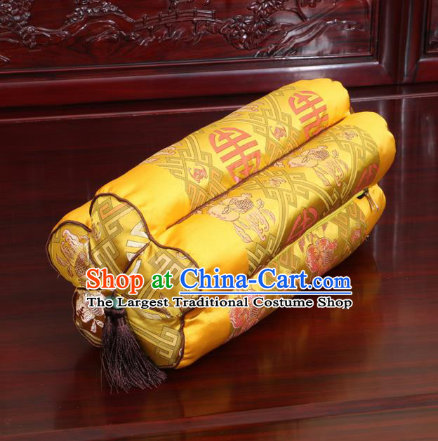 Chinese Traditional Household Accessories Classical Peach Pattern Golden Brocade Plum Blossom Pillow