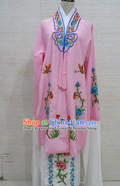 Chinese Traditional Beijing Opera Embroidered Peony Pink Dress Peking Opera Diva Costume for Adults
