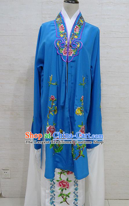 Chinese Traditional Beijing Opera Embroidered Peony Royalblue Dress Peking Opera Diva Costume for Adults