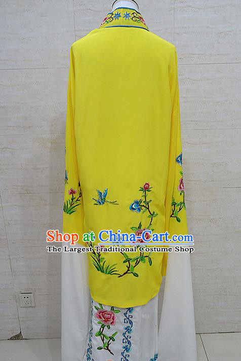 Chinese Traditional Beijing Opera Embroidered Peony Yellow Dress Peking Opera Diva Costume for Adults
