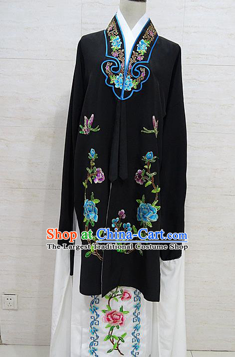 Chinese Traditional Beijing Opera Embroidered Peony Black Dress Peking Opera Diva Costume for Adults