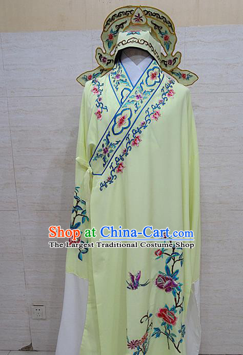Professional Chinese Beijing Opera Niche Embroidered Peony Light Yellow Robe Traditional Peking Opera Scholar Costume for Adults