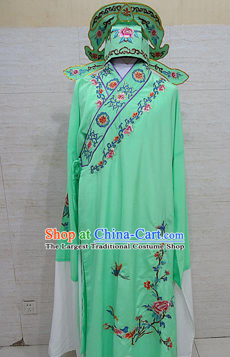 Professional Chinese Beijing Opera Niche Embroidered Peony Green Robe Traditional Peking Opera Scholar Costume for Adults