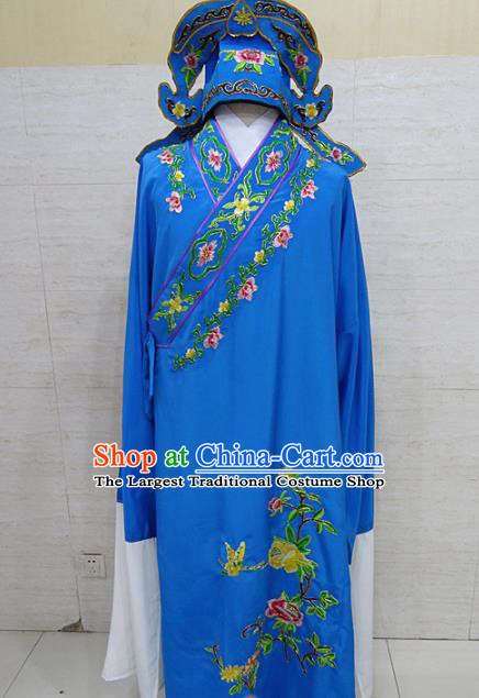 Professional Chinese Beijing Opera Niche Embroidered Peony Deep Blue Robe Traditional Peking Opera Scholar Costume for Adults