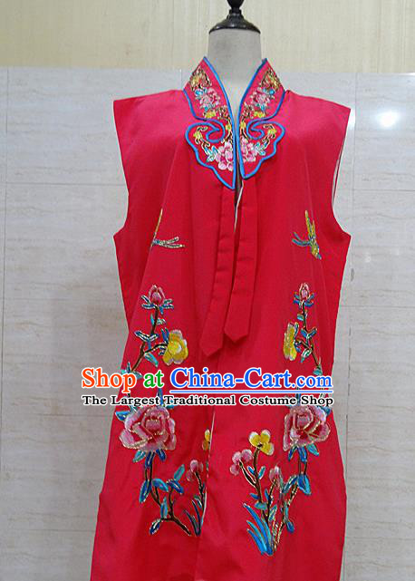 Chinese Traditional Beijing Opera Maidservants Rosy Embroidered Peony Waistcoat Peking Opera Costume for Adults