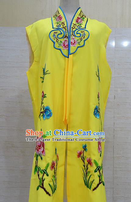 Chinese Traditional Beijing Opera Maidservants Yellow Embroidered Peony Waistcoat Peking Opera Costume for Adults
