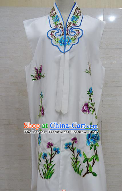 Chinese Traditional Beijing Opera Maidservants White Embroidered Peony Waistcoat Peking Opera Costume for Adults
