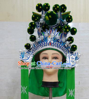 Chinese Traditional Beijing Opera Takefu Green Hat Ancient General Helmet Headwear for Adults