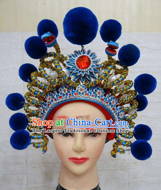 Chinese Traditional Beijing Opera Female Swordsman Hair Accessories Warriors Blue Helmet for Adults