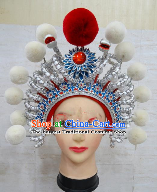 Chinese Traditional Beijing Opera Female Swordsman Hair Accessories Warriors White Helmet for Adults